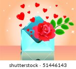 love letter and red rose | Shutterstock .eps vector #51446143
