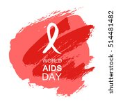 hand drawn red aids hiv ribbon  ... | Shutterstock .eps vector #514481482