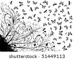 Grunge Floral Background With...