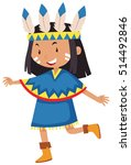 little girl dressed as native... | Shutterstock .eps vector #514492846
