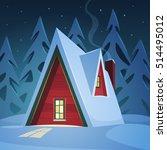 winter night landscape  red... | Shutterstock .eps vector #514495012