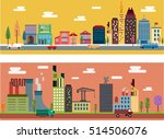city scheme sets flat colored... | Shutterstock .eps vector #514506076