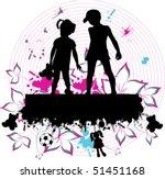 couple children     grunge... | Shutterstock .eps vector #51451168