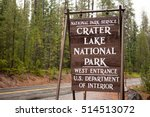 A temporary sign marking the entrance to Crater Lake United States