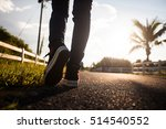 close up of girl shoes walking | Shutterstock . vector #514540552