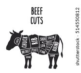 vector cuts of beef  hand drawn ... | Shutterstock .eps vector #514550812