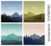 mountains landscape set. nature ... | Shutterstock .eps vector #514585582