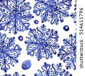 beautiful watercolor snowflakes ... | Shutterstock . vector #514611796