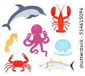 sea fishes and animals... | Shutterstock . vector #514615096