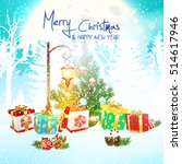 christmas. background merry... | Shutterstock .eps vector #514617946