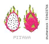 pixel art game style pitaya... | Shutterstock .eps vector #514623766