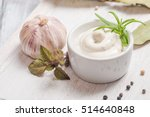 bowl of mayonnaise sauce on... | Shutterstock . vector #514640848