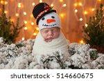 little newborn in snowman...   Shutterstock . vector #514660675