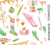 watercolor christmas seamless... | Shutterstock . vector #514669222