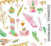 watercolor christmas seamless... | Shutterstock . vector #514669222