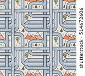 roads. seamless vector pattern  ... | Shutterstock .eps vector #514672606