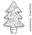 hand drawn christmas tree.... | Shutterstock .eps vector #514673932