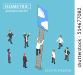 flat 3d isometric businessman... | Shutterstock .eps vector #514677082