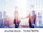 business deal  handshake double ... | Shutterstock . vector #514678096
