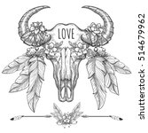hand drawn buffalo skull with... | Shutterstock .eps vector #514679962