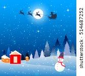 christmas card full moon forest ... | Shutterstock .eps vector #514687252