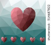 red low poly hearts on blue...   Shutterstock .eps vector #514687822