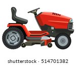 Red lawnmower on a white background - stock vector