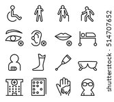handicap   disabled icon set in ... | Shutterstock .eps vector #514707652