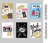 funny sale banners collection.... | Shutterstock .eps vector #514709602