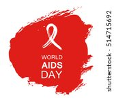 hand drawn red aids hiv ribbon  ... | Shutterstock .eps vector #514715692