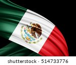 mexico  flag of silk with... | Shutterstock . vector #514733776