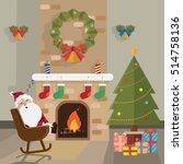 christmas santa claus relax... | Shutterstock .eps vector #514758136