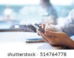 man using mobile payments ... | Shutterstock . vector #514764778