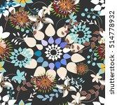 seamless flowers pattern | Shutterstock .eps vector #514778932