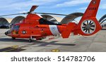 Small photo of Pensacola, FL, USA - November 11, 2016: A U.S. Coast Guard HH-65 Dolphin / MH-65 Dolphin Eurocopter rescue helicopter parked on the runway at Pensacola Naval Air Station in Florida.