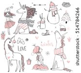 doodle princess with unicorn | Shutterstock .eps vector #514784266