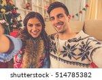 happy young couple doing selfie ... | Shutterstock . vector #514785382