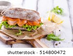 smoked salmon sandwich with... | Shutterstock . vector #514800472