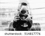 monochrome double exposure of... | Shutterstock . vector #514817776