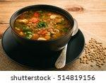 hot soup with green lentil ... | Shutterstock . vector #514819156