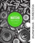 matcha tea. japanese traditions ... | Shutterstock .eps vector #514821016