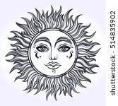 bohemian hand drawn sun. vector ... | Shutterstock .eps vector #514835902