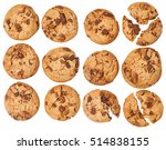 round cookie with chocolate... | Shutterstock . vector #514838155