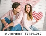 young couple with heart shaped... | Shutterstock . vector #514841062