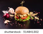 juicy delicious burger with... | Shutterstock . vector #514841302