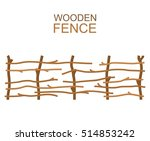 Rural Wooden Fence Isolated On...
