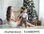portrait of happy mother and... | Shutterstock . vector #514880995