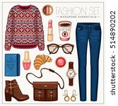 vector fashion set of woman's... | Shutterstock .eps vector #514890202