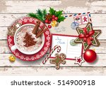 christmas card with letter to... | Shutterstock .eps vector #514900918