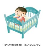 illustration of baby in the crib | Shutterstock . vector #514906792